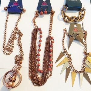 New Paparazzi copper tone jewelry lot 7 pieces!